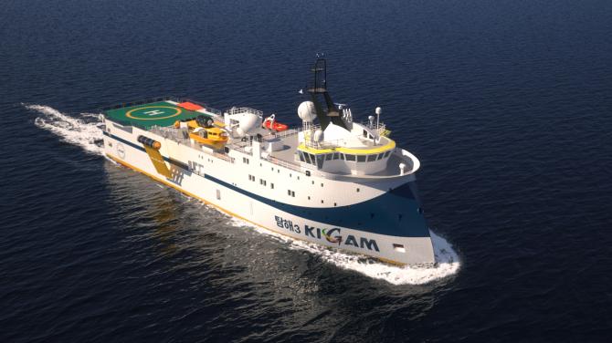 컴퓨터그래픽으로 그린 탐해3의 모습. 대규모 연구시설과 해저탐사 장비를 두루 갖췄다. 후면에 헬리콥터 착륙장이 보인다. - 한국지질자원연구원 제공